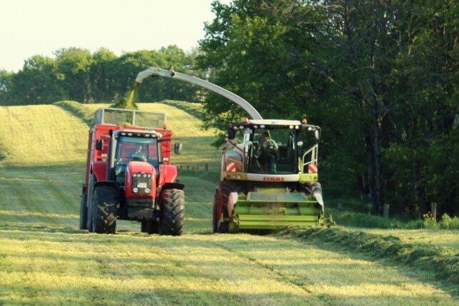 Die Maschine mit einer Arbeitsbreite von 14 Metern mäht bei guten Bedingungen pro Tag bis zu 60 Hektar Grünland.