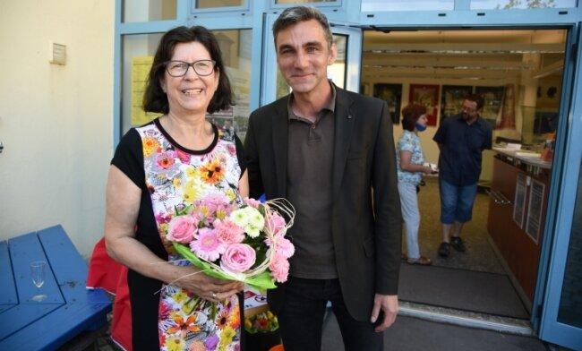 Birgit Thümmler ist seit 1. August im Ruhestand. Daniel Petri, Chef derOelsnitzer Kultur GmbH, sprach zu ihrer Verabschiedung.