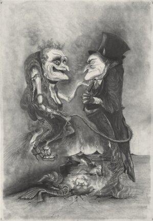 """Die """"Die Sorgen des Teufels"""", eine Textsammlung von Dieter Mucke, wurden im Jahr 1979 mit Illustrationen von Regine Heinecke im Plauener Sachsendruck-Werk gedruckt. Heute hat die Künstlerin ganz andere Sorgen: Sie wirft dem Oelsnitzer Stadtmarketing-Geschäftsführer Daniel Petri Einmischung in ihr künstlerisches Werk vor."""