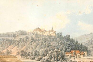 Die Gouache-Zeichnung von Christian Gottlieb Hammer zeigt Schloss Lichtenwalde und das Zschopautal in der ersten Hälfte des 19. Jahrhunderts.