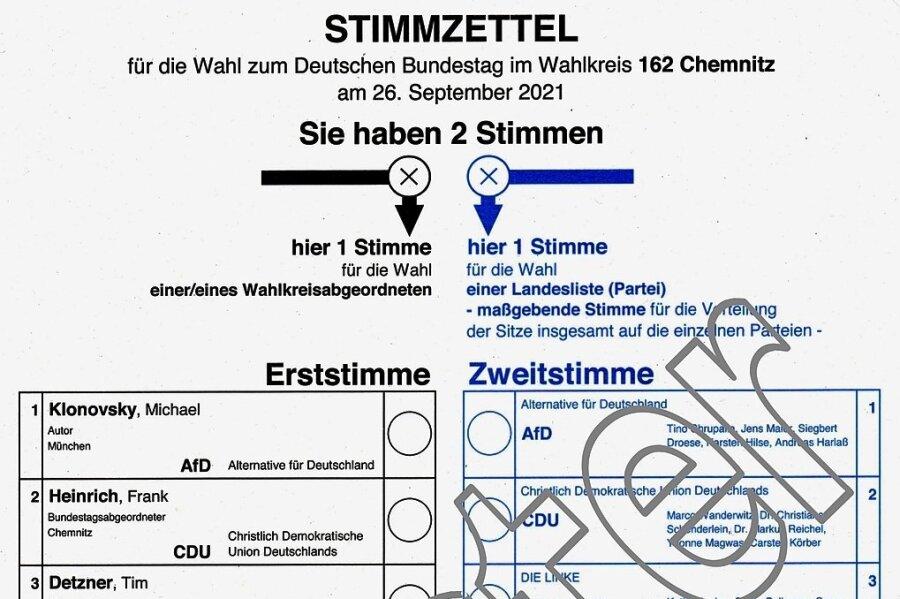 So sieht der Stimmzettel zur Bundestagswahl 2021 in einem Chemnitzer Wahlkreis aus (Auszug). Die Reihenfolge der Parteien ist überall in Sachsen gleich. Sie richtet sich nach den früheren Wahlergebnissen.