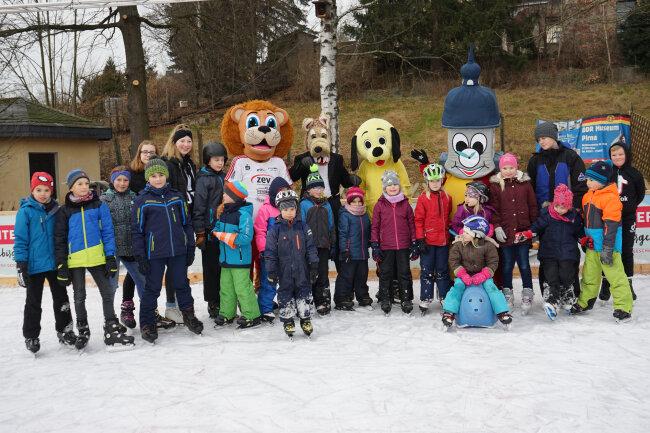 Wird es in diesem Jahr nicht geben: Maskottchenlauf auf der Eisbahn Oederan, wie hier 2019.