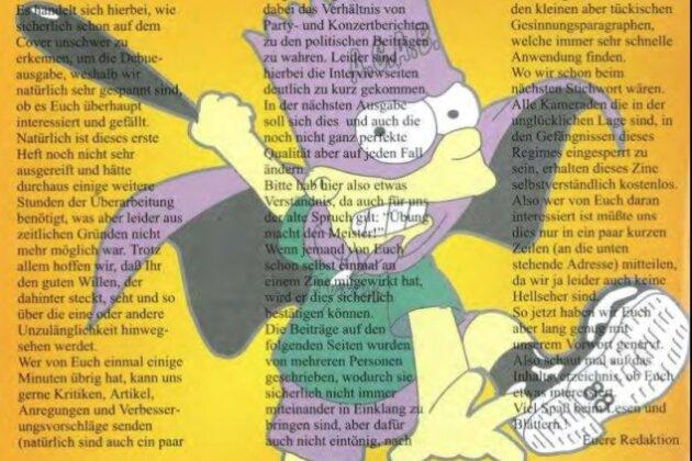 """Nazi-Humor: Bart Simpson mit Keule, Kapuze und Stiefeln, auf deren Sohle die 88 prangt, Szene-Code für den Gruß """"Heil Hitler"""". Das von Uwe Mundlos entworfene Bild wurde in Jan W.s Szene-Blatt """"White Supremacy"""" veröffentlicht."""