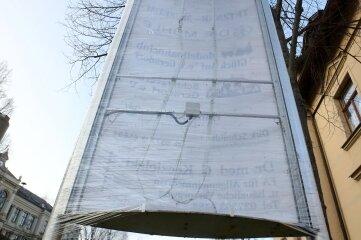 Die beschädigte Stele an der Hessenmühle.