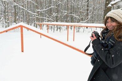 Andrea Damaris Heinze macht es Spaß, Kurioses im Foto festzuhalten, was sie im Alltäglichen so entdeckt - auch der fast schon historische Trimm-Dich-Pfad im Steegenwald Lugau gehört zu ihren Motiven.