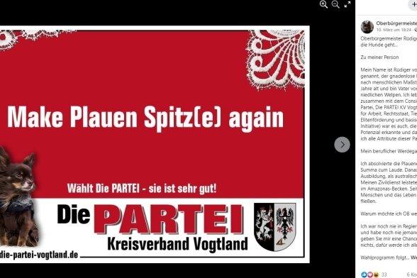 """Das Facebook-Profil von OB-Kandidat Rüdiger von der Leine. Sein Wahlversprechen: """"Ich verspreche nichts, dafür werde ich alles halten."""""""