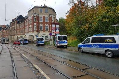 An der Oelsnitzer Straße/ B 92 in Plauen lief am Mittwoch eine Polizeirazzia.