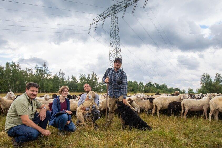 André Oehler (li.) und Anika Lemm vom Landschaftspflegeverband beim Treffen mit den Schäfern Simon und Quirin Marsch (re.).