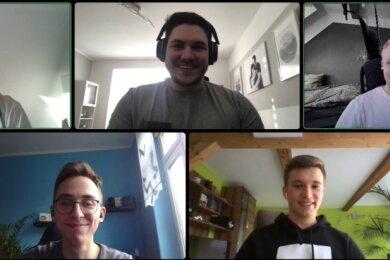 Das Greenlib-Team (v. links, im Uhrzeigersinn) im Videocall: Erik Gösche, Josua Gehmlich, Justin Brückner, Robert Jehring und Laurenz Riedel.