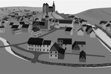 Blick nach Süden im historischen 3D-Modell von Mylau um 1850. Vorn der Raumbach, der in die Göltzsch mündet.