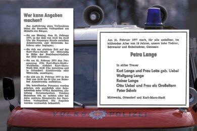 """Ein knapper Zeugenaufruf und die Todesanzeige - viel mehr erschien 1977 in der """"Freien Presse"""" nicht über den Mord an der Mittweidaerin Petra Lange."""