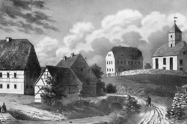 Die Kirche und die Schule (rechte Hälfte) und links das ehemalige Erbgericht in einem Bild von 1838.