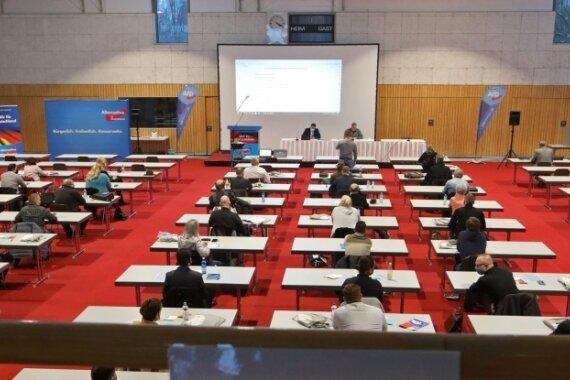 Sachsenlandhalle: Statt kompletter Kreisverbandssitzung gab es am Samstag nur die Aufstellungsversammlung.