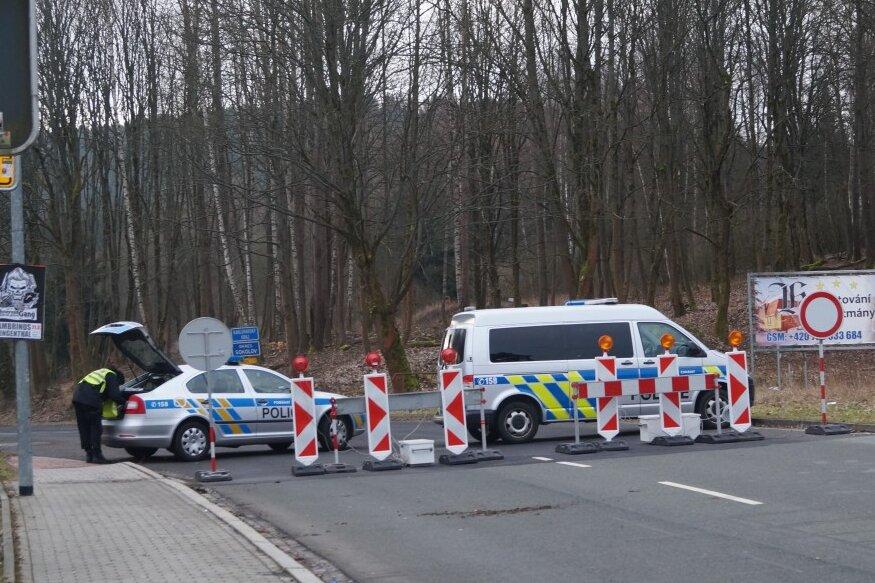 Der Grenzübergang in Klingenthal am Samstagfrüh.