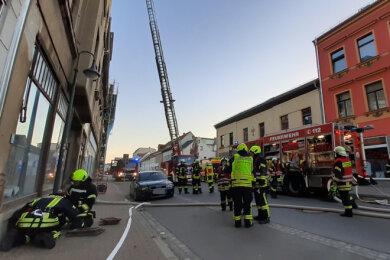 44 Frauen und Männer waren an dem rund einstündigen Einsatz in der Werdauer Innenstadt beteiligt.