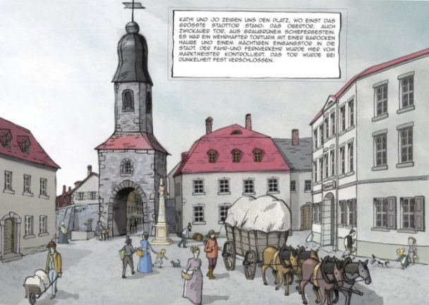 Station Nummer 11 ist das Obertor, auch Zwickauer Tor genannt. Schon damals stand dort eine Postsäule.