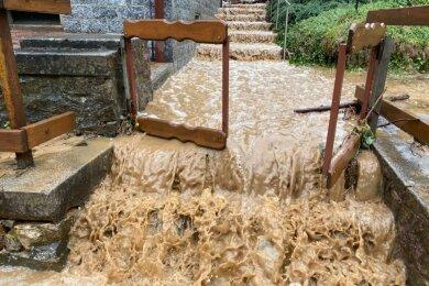 Am 10. August 2020 schossen die Fluten durch Reinsberg. Sie spülten Schlamm und Geröll auf die Straßen und Grundstücke; Treibholz verklemmte sich an Brücken und musste entfernt werden.