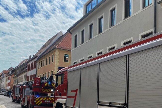 Ein Großaufgebot an Feuerwehren ist am Montagmittag zur Freiberger Burgstraße gerückt. Allerdings handelte es sich um einen Fehlalarm.