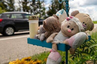 Ein kleiner Gedenk-Ort erinnert heute an der ehemaligen B 175 bei Langenleuba-Oberhain an den tödlichen Verkehrsunfall eines Mädchens im März 2019.