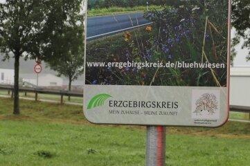 """Damit weist der Landkreis auf das Projekt """"Danke für die Blumen"""" hin."""