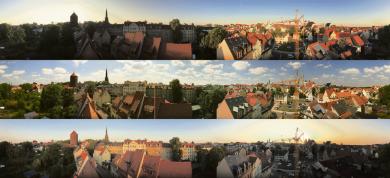 Eine Kamera auf dem Altstadt-Hotel fängt zu unterschiedlichen Tageszeiten diesen Blick über die Dächer von Freiberg ein.