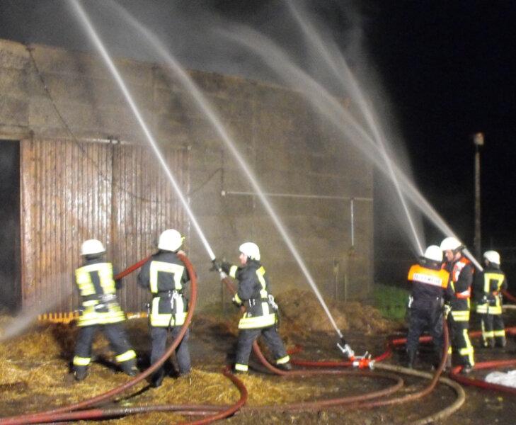 """<p class=""""artikelinhalt"""">Diese Lagerhalle mit Heu und Stroh brannte am Samstag in Großrückerswalde ab. 100 Feuerwehrleute waren im Einsatz. </p>"""