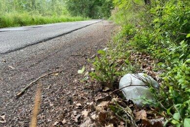 Die Distanz zur Straße lässt durchaus vermuten, dass die Beutel mit den benutzten Windeln aus dem Auto geworfen werden.