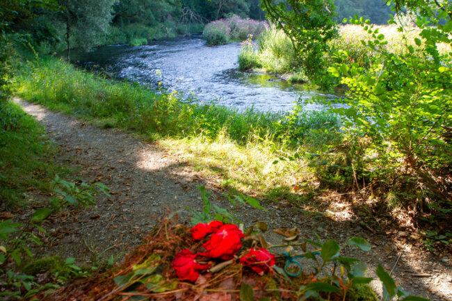 Unbekannte hatten kürzlich am Fundort der Babyleiche Blumen abgelegt.