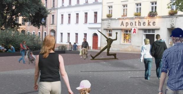"""So könnte der Standort des """"Jahrhundertschritts"""" am Solbrigplatz in Reichenbach aussehen. Von einer Umbenennung des Platzes halten die befragten Bürger nichts."""