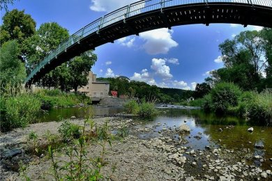 Ausgetrocknet: Die Zschopau unterhalb der Hängebrücke in Sachsenburg - es kommt kaum noch Wasser über das Wehr.