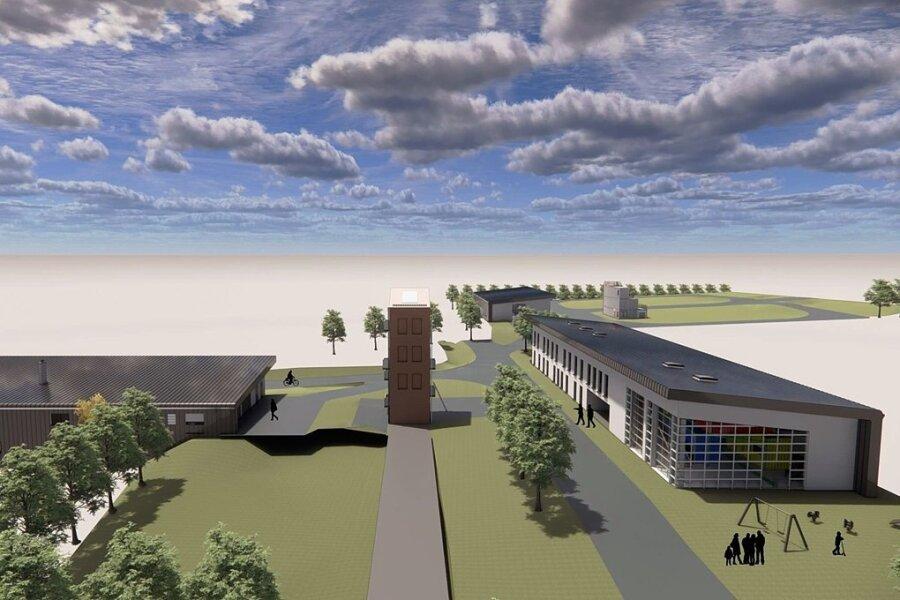 So soll das Kompetenzzentrum eines Tages aussehen: Links das Feuerwehrtechnische Zentrum, in der Mitte der Übungsturm, rechts die Ausbildungsstätte, dahinter das Katastrophenschutzlager.