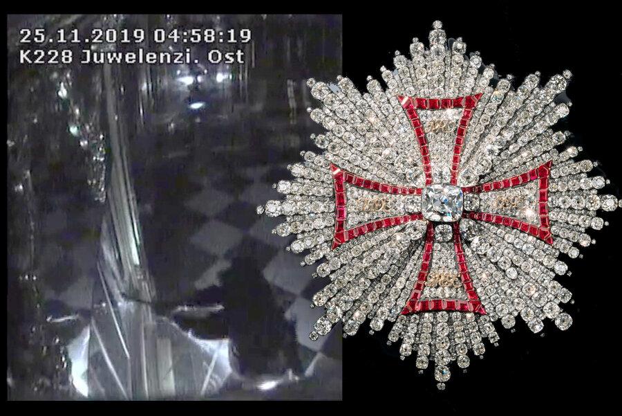 Diese beiden Teile der gestohlenen Juwelenensembles sollen im sogenannten Darknet - einem verschlüsselten Teil des Internets - angeboten worden sein. Die Aufnahme links stammt aus der Überwachungskamera des Grünen Gewölbes. Sie zeigt, wie ein Täter eine Vitrine mit einer Axt zerstört.
