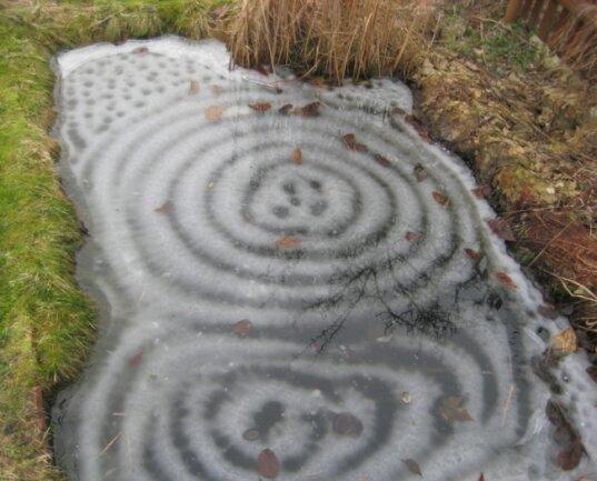 Eisformationen wie diese zeigen, dass der Teich, auf dem sie sich bilden, kontinuierlich etwas Wasser verliert.