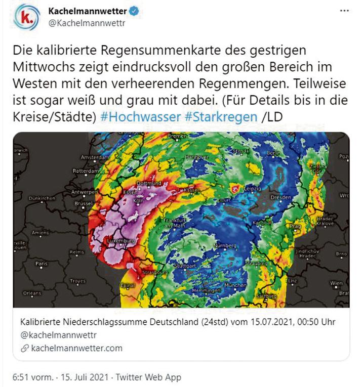 Die Regensummenkarte von Wetterfrosch Jörg Kachelmann zeigt die stärkstbetroffenen Gebiete.