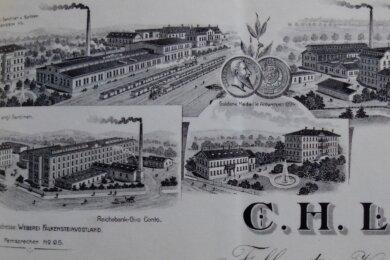 Geschäftsbrief der Firma C.H. Lange von 1907: Links unten ist das damalige Göltzschwerk zu sehen, das 1894 errichtet wurde.