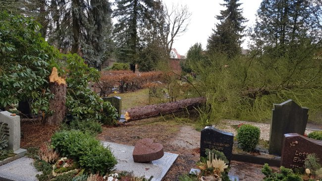 In Reichenbach hat aufgrund der Wetterlage und vermehrten Sturmbruchs auf den städtischen Friedhöfen die Friedhofsverwaltung die Ruhestätten in Reichenbach und den Ortsteilen geschlossen.