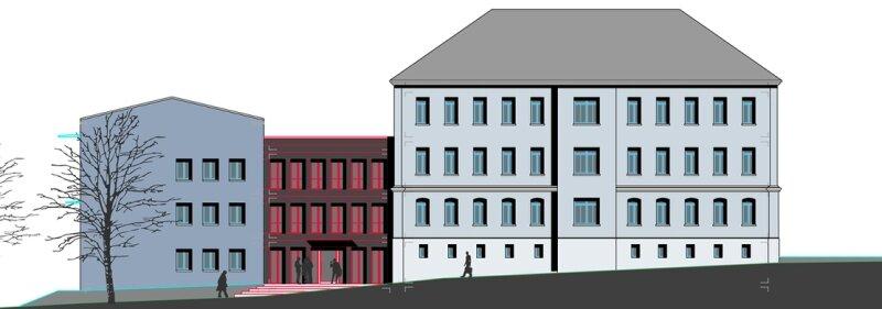 """<p class=""""artikelinhalt"""">Am künftigen Polizeirevier in Auerbach, dem ehemaligen Finanzamt an der Schulstraße, soll in diesem Jahr der Mittelbau (rot) abgerissen und neu gebaut werden. </p>"""