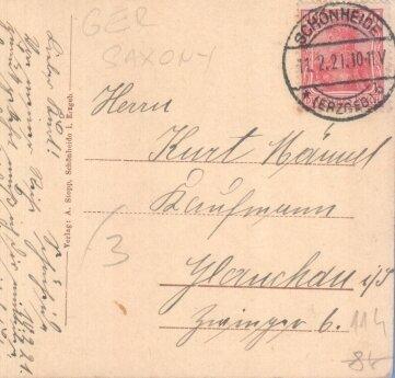 Der Stempel zeigt das heutige Datum vor 100 Jahren.