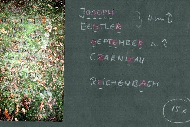 Der Rößnitzer Metall- und Emailgestalter Peter Luban hat zur Ergänzung der fehlenden Buchstaben am Grab von Joseph Beutler in Plauen bereits Vorarbeiten geleistet.