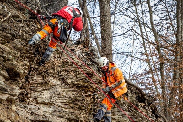 Mitarbeiter der Jähnig GmbH Felssicherung und Zaunbau aus Dorfhain haben am gestrigen Montag mit Felssicherungsarbeiten oberhalb der Ortslage Falkenau begonnen.
