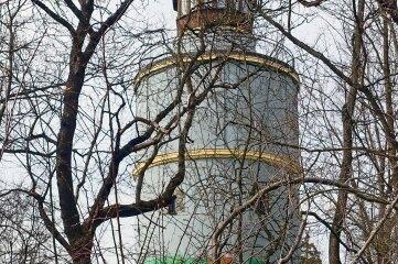 Hinter dem Geäst versteckt sich der Neundorfer Wasserturm.