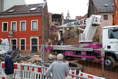 Abriss des Gebäudes Friedrich-Engels-Straße 10.