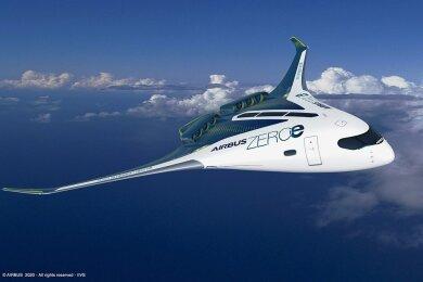 Der europäische Luftfahrtkonzern Airbus könnte den EU-Plan erfüllen: Die undatierte grafische Darstellung zeigt ein Konzept für ein Flugzeug mit Wasserstoffantrieb für bis zu 200 Passagiere. Airbus will in 15 Jahren ein Passagierflugzeug mit Wasserstoffantrieb herstellen.