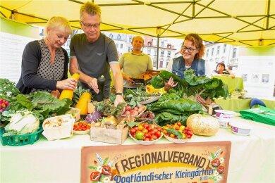 Der Höhepunkt der Spitzengenuss-Woche in Plauen ist alljährlich die Blumen-, Obst und Gemüseschau. Das Foto entstand im vergangenen Jahr.