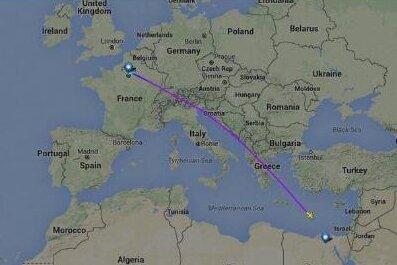 Auf der Internetseite Flightradar24 ist die Flugroute bis zum Abbruch der Kommunikation nachgezeichnet.