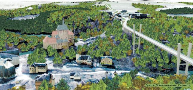 In 60 Meter Höhe sollte eine 320 Meter lange Brücke das Zschopautal überqueren. Realisiert wurde das nie.