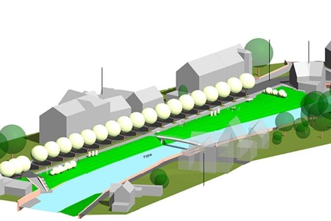 Die Visualisierung zeigt den betreffenden Abschnitt an der Freiberger Straße. Noch handelt es sich in Hinblick auf die Gestaltung um ein Ideenstadium.