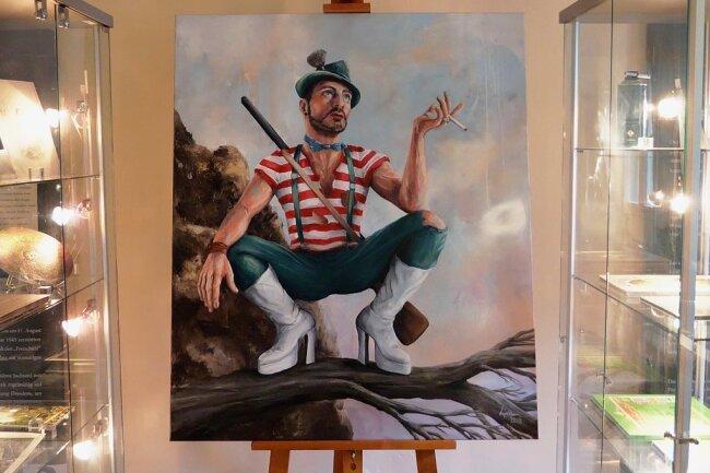 """Männlichkeit, neu definiert: So stellt sich der Wuppertaler Maler Guido Lipken die heutigen Tagen gemäße Opernfigur des Max in der Dresdner """"Freischütz""""-Ausstellung vor."""