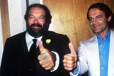 Bud Spencer (l) und Terence Hill; «Daumen hoch» im Oktober 1984.