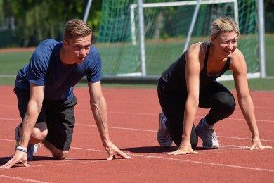 Hürdenspezialistin Franziska Hofmann und 400-m-Läufer Maximilian Grupen sind für die Europaspiele bereit.